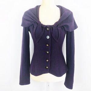Anthropologie Guinevere Purple Carved Cove Sweater